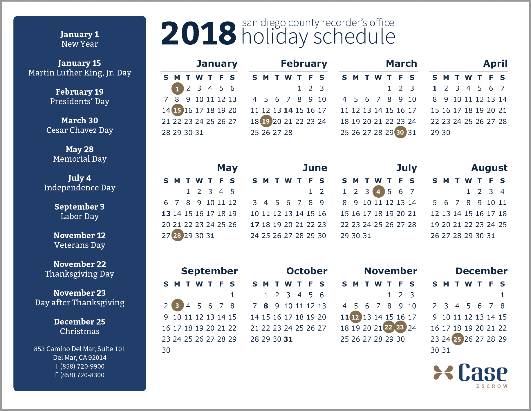 2018 San Diego County Recorder's Office Schedule