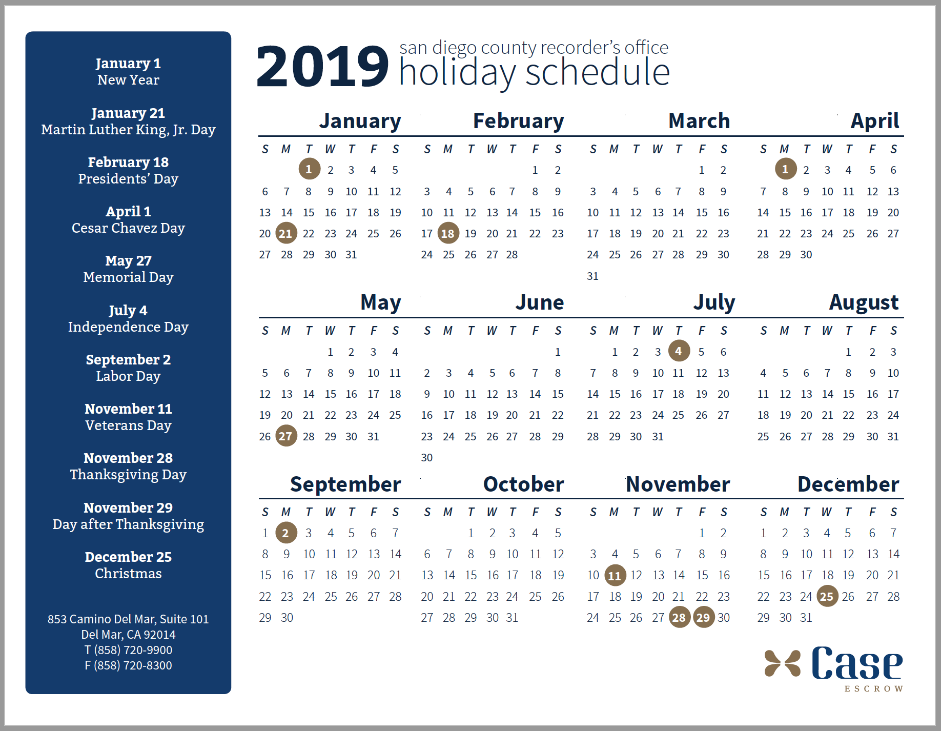 2019 San Diego County Recorder's Office Schedule